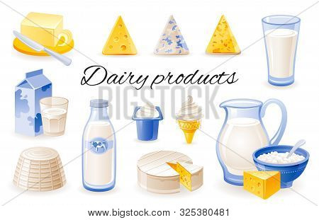 Milk Dairy Product Icon Set With Cheese Cheddar, Brie, Ricotta, Yoghurt, Butter, Jar. Realistic 3d C