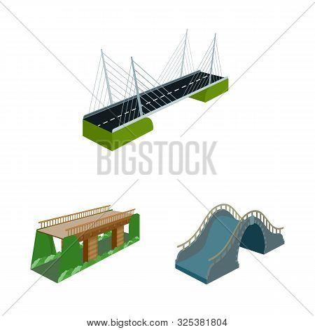 Vector Illustration Of Bridgework And Architecture Icon. Collection Of Bridgework And Structure Vect