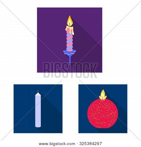 Vector Illustration Of Candlelight And Decoration Sign. Collection Of Candlelight And Flame Stock Sy