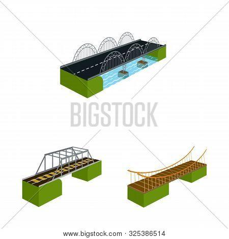 Vector Illustration Of Bridgework And Architecture Icon. Set Of Bridgework And Structure Vector Icon