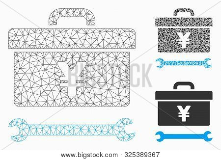 Mesh Yen Toolbox Model With Triangle Mosaic Icon. Wire Carcass Polygonal Mesh Of Yen Toolbox. Vector