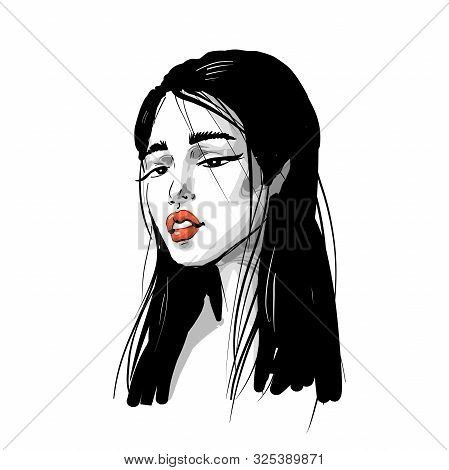 Asian Girl Fashion Romantic Portrait With Red Lips In Black And White Inky Style