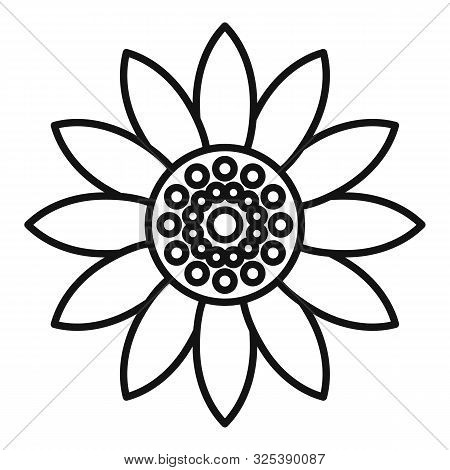 Helianthus Flower Icon. Outline Helianthus Flower Vector Icon For Web Design Isolated On White Backg