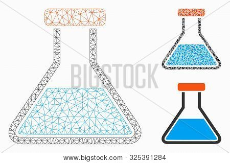 Mesh Wide Retort Model With Triangle Mosaic Icon. Wire Frame Polygonal Mesh Of Wide Retort. Vector C
