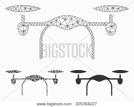 Mesh Quadcopter Model With Triangle Mosaic Icon. Wire Frame Polygonal Mesh Of Quadcopter. Vector Mos