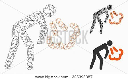 Mesh Vomiting Model With Triangle Mosaic Icon. Wire Frame Triangular Mesh Of Vomiting. Vector Collag