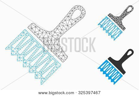 Mesh Wide Brush Model With Triangle Mosaic Icon. Wire Frame Triangular Mesh Of Wide Brush. Vector Co