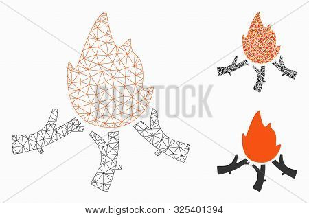 Mesh Wood Campfire Model With Triangle Mosaic Icon. Wire Frame Polygonal Network Of Wood Campfire. V