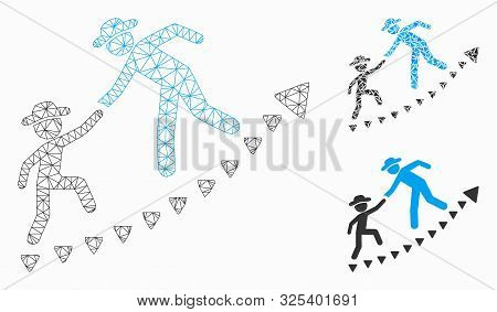 Mesh Gentlemen Education Growth Model With Triangle Mosaic Icon. Wire Frame Triangular Mesh Of Gentl