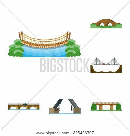 Isolated Object Of Bridgework And Bridge Sign. Collection Of Bridgework And Landmark Stock Symbol Fo