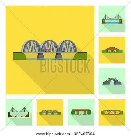 Vector Design Of Bridgework And Bridge Logo. Collection Of Bridgework And Landmark Stock Symbol For