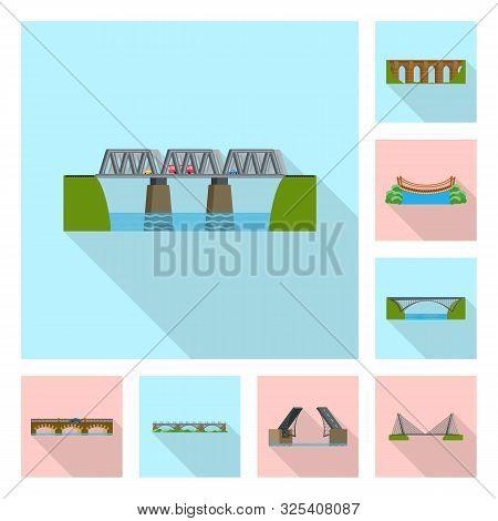 Vector Design Of Bridgework And Bridge Sign. Collection Of Bridgework And Landmark Vector Icon For S