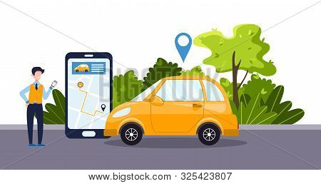 Car Sharing Service Concept With Positive Businessman, Telephone App, Yellow Car. Green Environment.