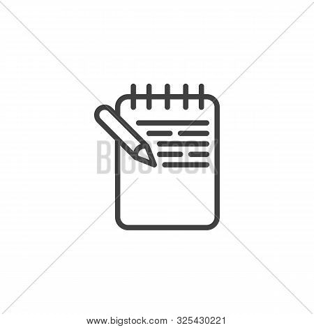 Notebook With Pen Line Icon. Linear Style Sign For Mobile Concept And Web Design. Memo Paper With Pe