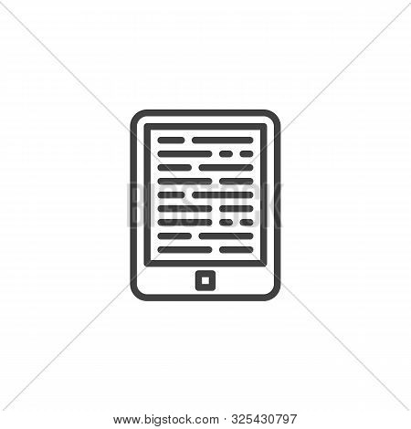 E-book Reader Line Icon. Linear Style Sign For Mobile Concept And Web Design. Electronic Book Reader