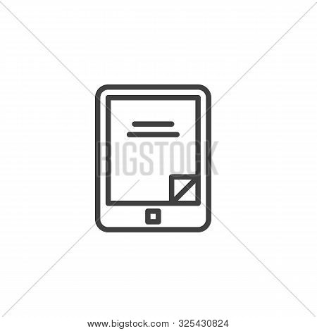 Electronic Book Reader Line Icon. Linear Style Sign For Mobile Concept And Web Design. E-book Reader