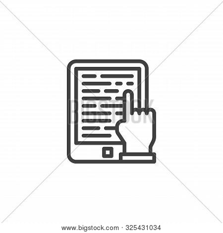 Ebook Reading Line Icon. E-learning Linear Style Sign For Mobile Concept And Web Design. E-book Read