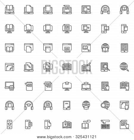 E-learning Line Icons Set. Linear Style Symbols Collection, Outline Signs Pack. Vector Graphics. Set