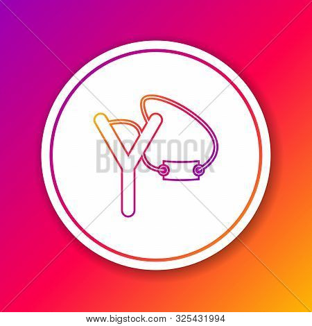 Color Line Slingshot Icon Isolated On Color Background. Circle White Button. Vector Illustration