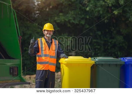 [garbage collector] Portrait of worker recycling garbage collector truck loading waste and trash bin, Trash keeper. poster