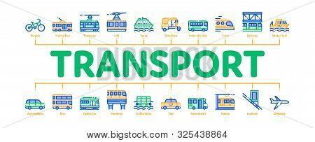 Public Transport Minimal Infographic Web Banner Vector. Trolleybus And Bus, Tramway And Train, Cable