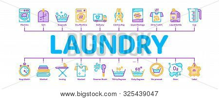 Laundry Service Minimal Infographic Web Banner Vector. Laundry Service, Washing Clothes Linear Picto