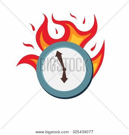 Clock On Fire Symbol Business Deadline And Rush Hour. Hurry Up Time Ripe For Making Decision. Burnin