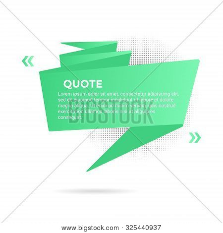 Big Ribbon With Quote Text Space Vector Illustration Isolated On White Background. Quotation Remark,