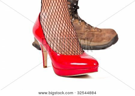 Red Stilletto Shoe With Brown Walking Shoes