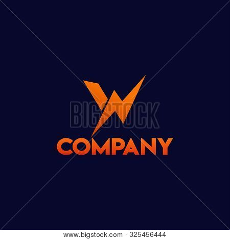 Letter W Alphabetic Logo Concept With Big Watt Icon , High Voltage, Lightning Bolt, Electrical Power