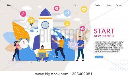 Landing Page With Business Startup New Idea Flat Design. Cartoon Men And Women Characters Team Worki