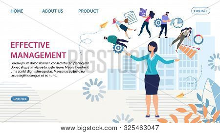 Effective Personnel Management And Skilled Woman Team Leader. Business Support. Online Service. Team