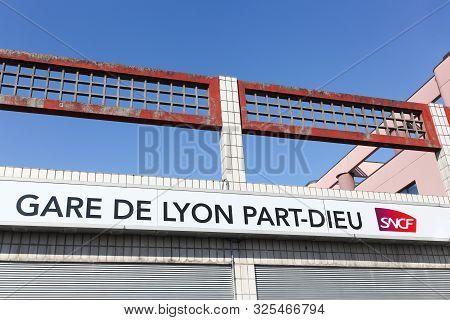 Lyon, France - March 21, 2018: Railway Station Building In Part-dieu, Lyon, France