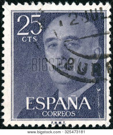 Vintage Stamp Printed In Spain 1955 Shows General Franco