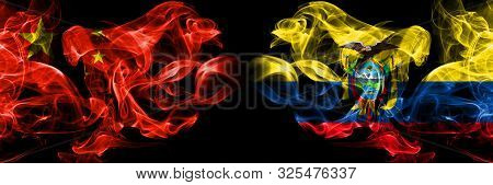 China Vs Ecuador, Ecuadorian Smoke Flags Placed Side By Side. Thick Colored Silky Smoke Flags Of Chi