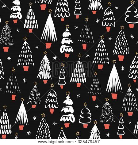 Modern Abstract Christmas Trees Black On White Seamless Vector Pattern. Modern Doodle Holiday Backgr