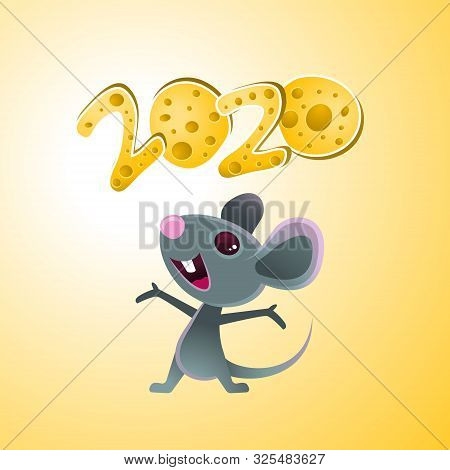 Symbol Of 2020, A Cheerful Gray Mouse Juggles Cheese. Mouse And Cheese. Year Of The Rat And Mouse.te