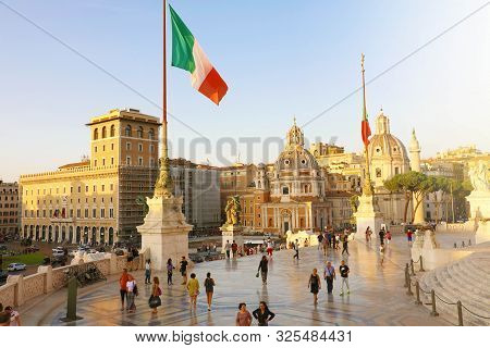 Rome, Italy - September 16, 2019: Sunset View Of Rome From The Altar Of The Fatherland (altare Della