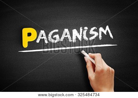 Paganism - Text On Blackboard, Concept Background