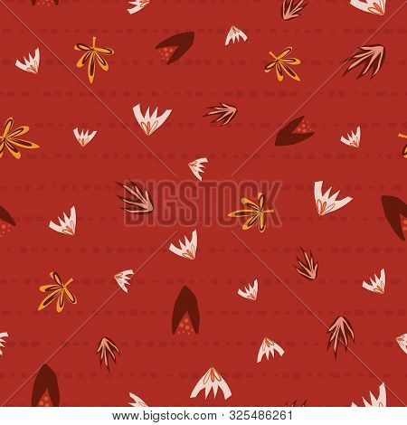 Scattered Autumn Leaves Seamless Vector Background. Abstract Fall Pattern Red Orange Pink. Repeating