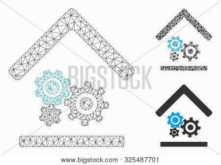 Mesh Workshop Model With Triangle Mosaic Icon. Wire Frame Polygonal Mesh Of Workshop. Vector Mosaic