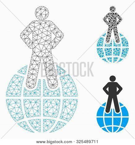 Mesh World Commander Model With Triangle Mosaic Icon. Wire Carcass Triangular Network Of World Comma