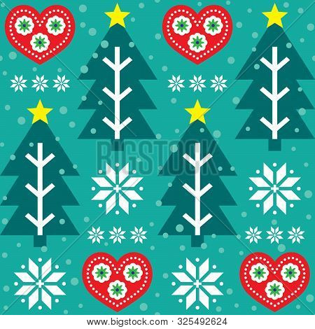 Christmas vector seamless pattern - Scandinavian folk art style, repetitive design with Christmas tree, hearts and snowflakes in red and  turquoise green poster