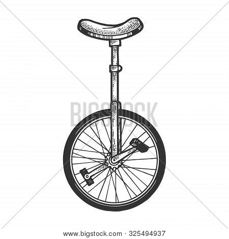 Unicycle Bicycle Sketch Engraving Vector Illustration. Tee Shirt Apparel Print Design. Scratch Board