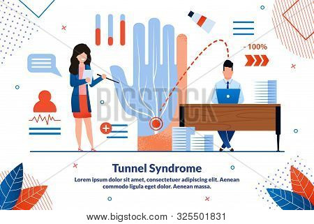Carpal Tunnel Syndrome, Painful Median Nerve In Wrist Trendy Flat Vector Vector Banner, Poster. Doct