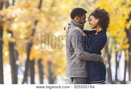 Love And Romance Concept. Sweet Black Couple Hugging And Looking At Each Other, Autumn Trees Backgro