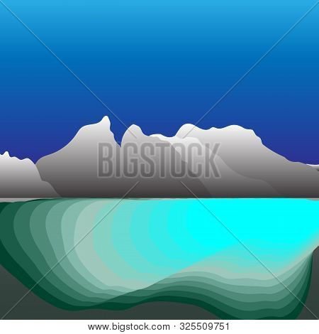 Beautiful Mountain With Natural Reservoir, Stock Vector