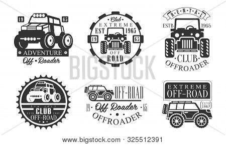 Offroader Extreme Club Retro Logo Set, Off Road Adventures Monochrome Badges Vector Illustration