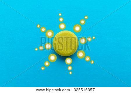 Prana Pill Geometric Pattern Of Creeping Power On A Blue Background