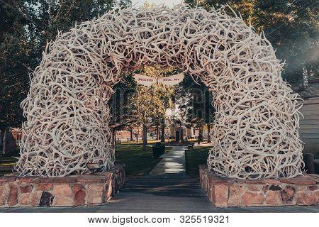 Jackson, Wyoming, Usa - August 17, 2019: Elk Antler Arches In Jackson Town Square, Jackson Hole, Wyo